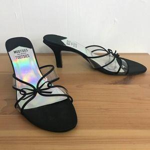 Mootsies Tootsies Kitten Heel Clear Slip On Sandal
